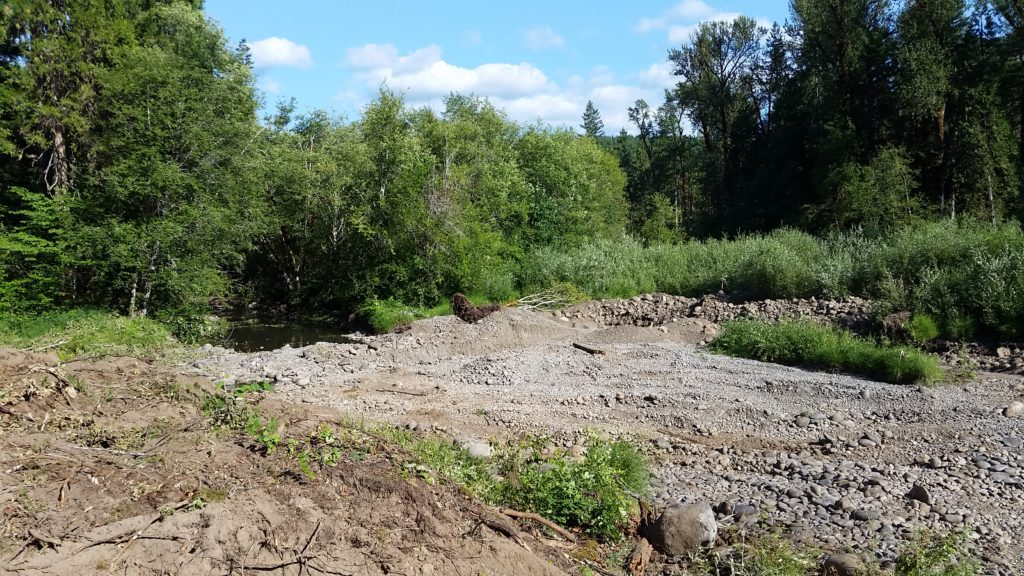 Cleared floodplain with an assortment of gravel